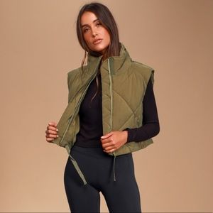 Free People No Chill Olive Green Quilted Vest